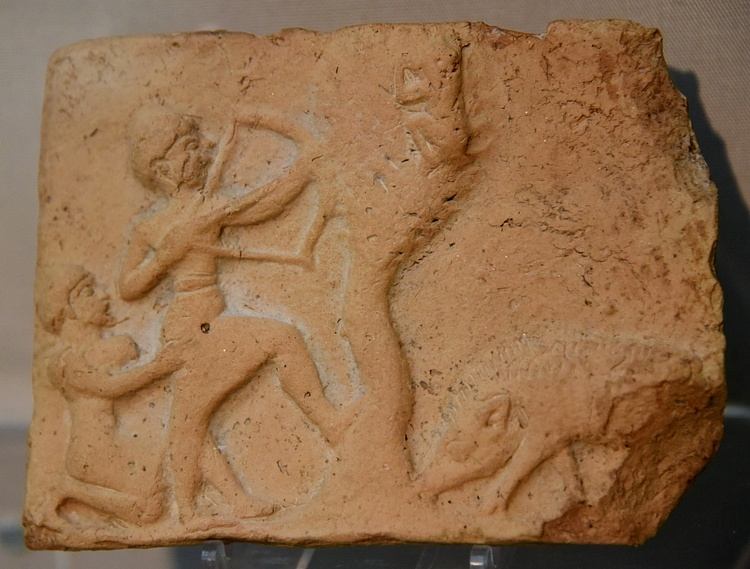Mesopotamian Plaque Showing a Man Shooting at a Monkey
