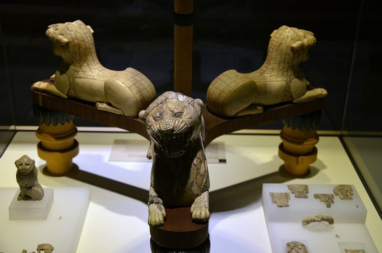 Urartian Tripod with Ivory Lions