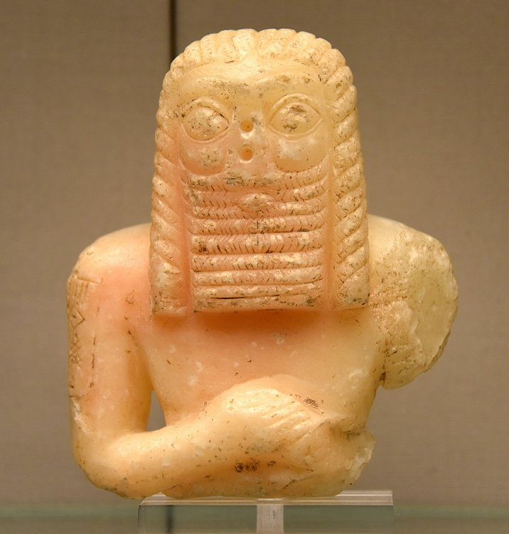 Calcite Statue of a Mesopotamian Man
