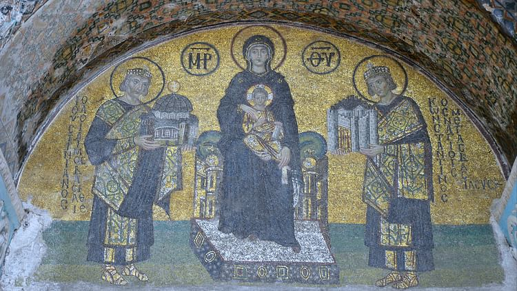 Mosaic with the Virgin Mary, Constantine and Justinian, Hagia Sophia
