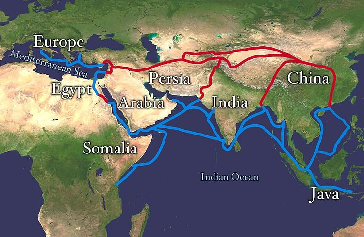 Map of the Silk Road Routes (Whole Wrold Land And Oceans)