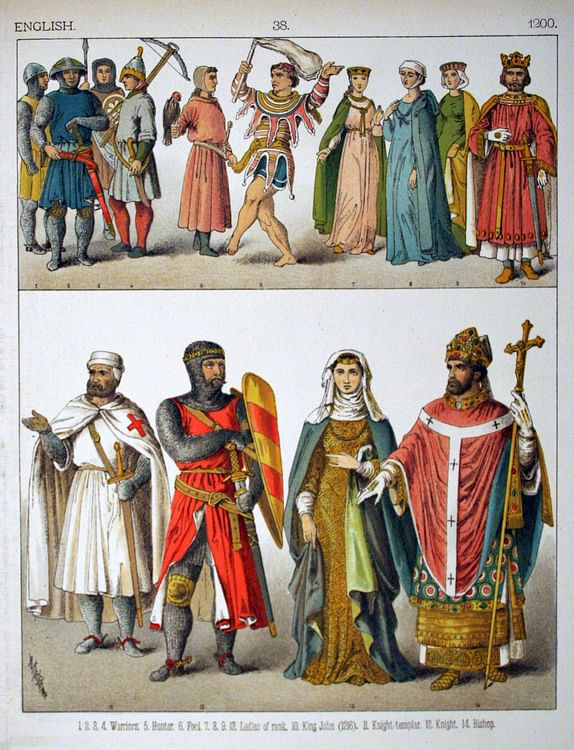 English Medieval Clothing, c. 1200 CE