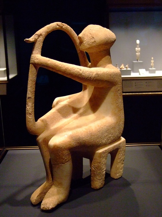Cycladic Harp Player Figurine