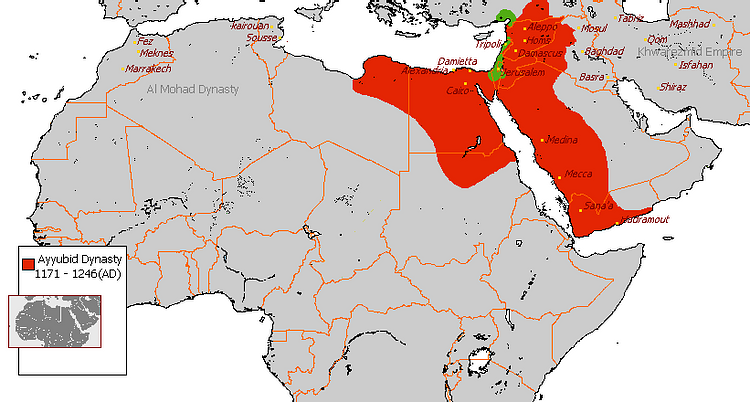 Map of the Ayyubid Empire