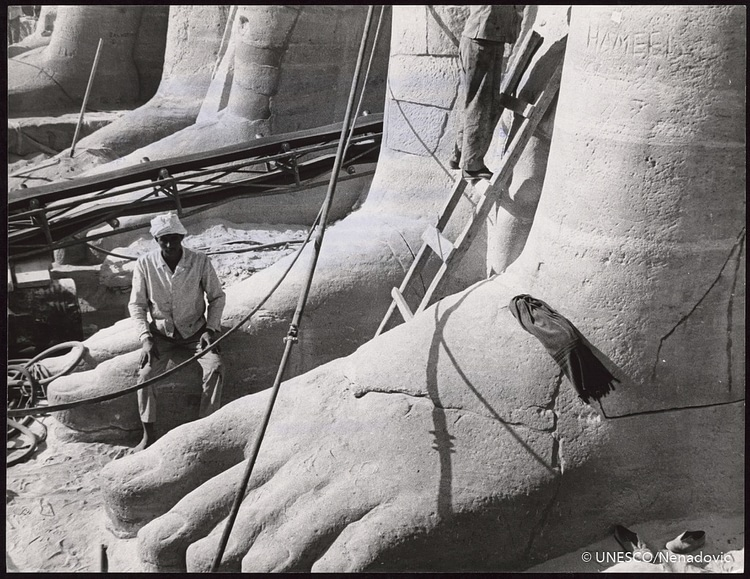 Worker on Colossal Foot, Abu Simbel