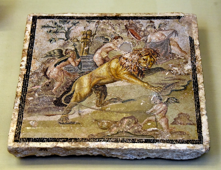 Mosaic Panel Depicting a Lion Taunted by Cupids