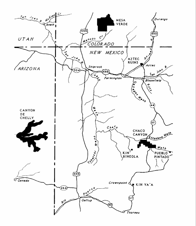Map of Ancestral Puebloan Sites in US Southwest