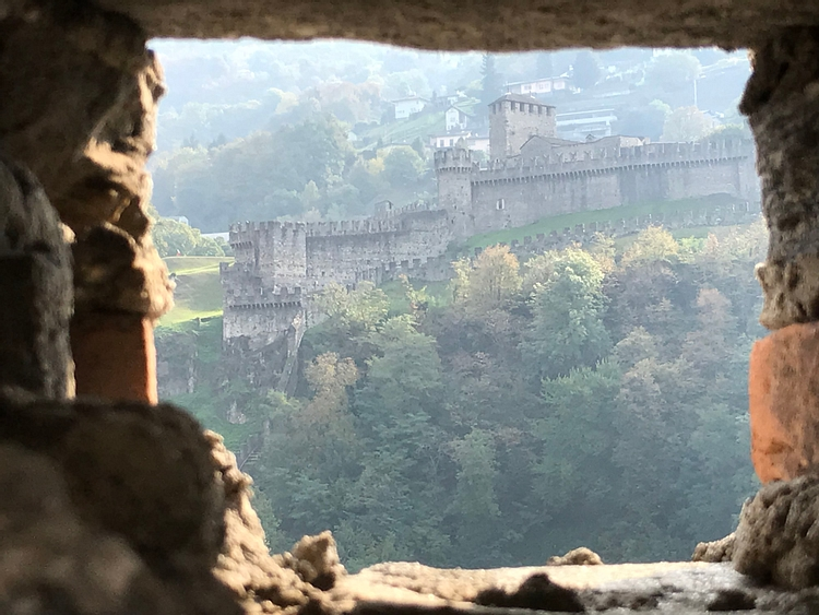 View of Montebello Castle from Castelgrande in Bellinzona