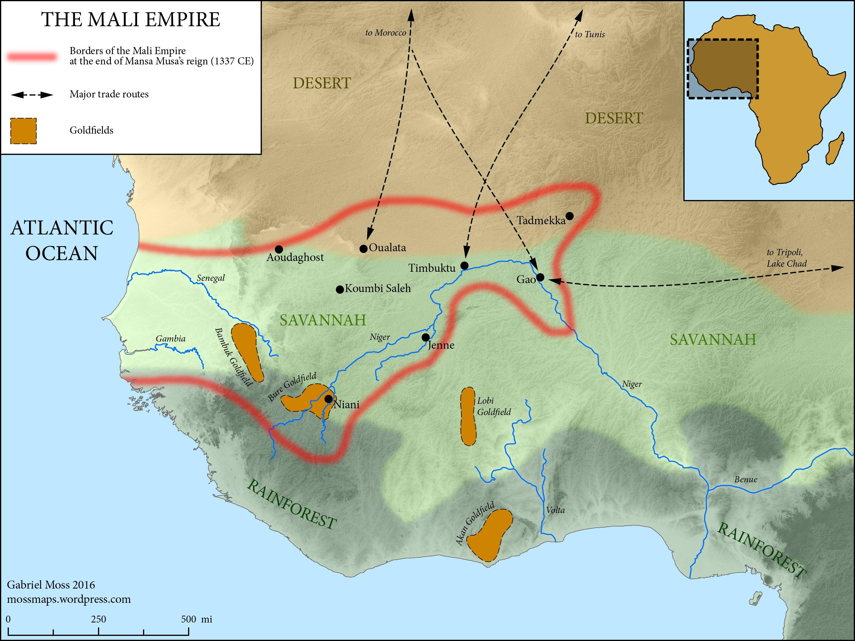 Map Of The Mali Empire C 1337 Ce Illustration Ancient History Encyclopedia