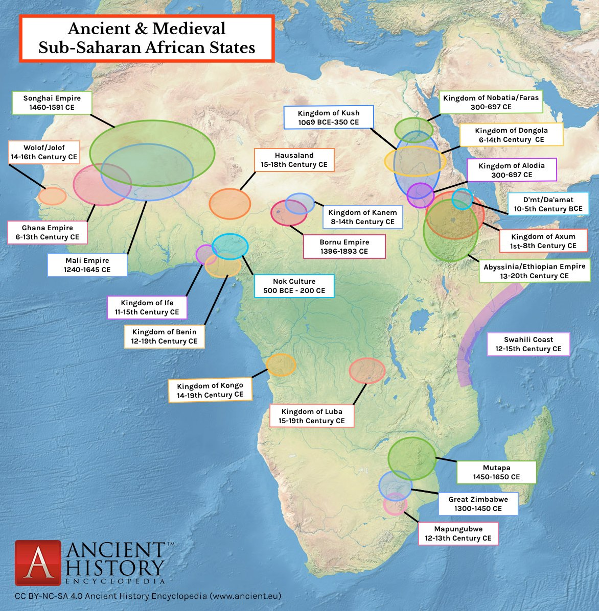 Ancient Africa Map Map of Ancient & Medieval Sub Saharan African States (Illustration