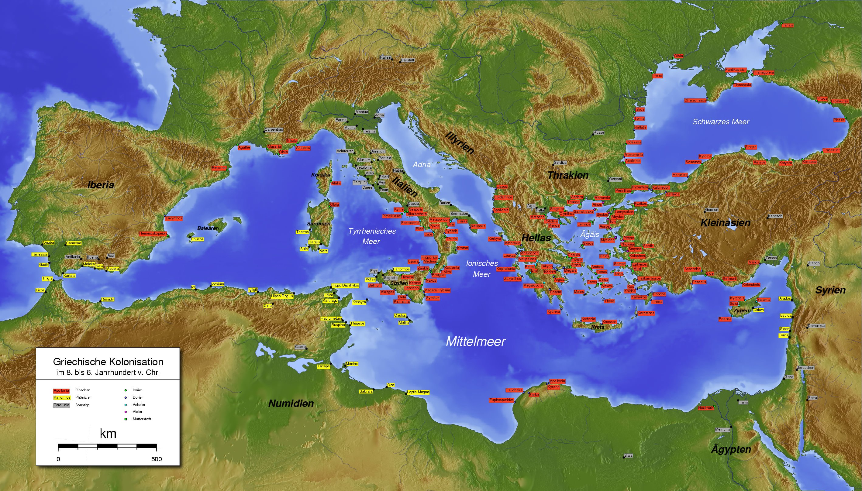 Greek Colonization Ancient History Encyclopedia - Greek colonization archaic period map