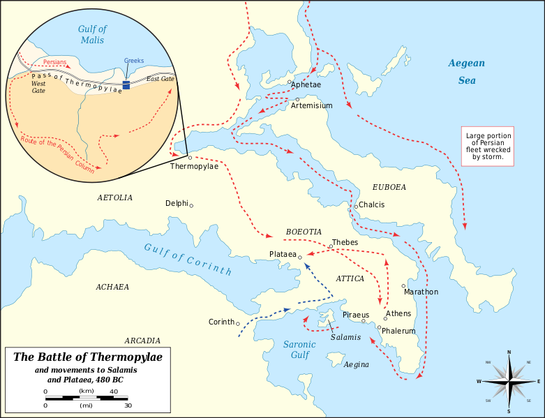 Xerxes I Ancient History Encyclopedia - Map of the distance between athens sparta and the us