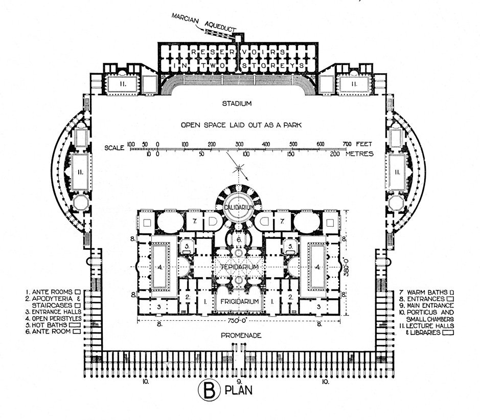 plan of the baths of caracalla illustration ancient