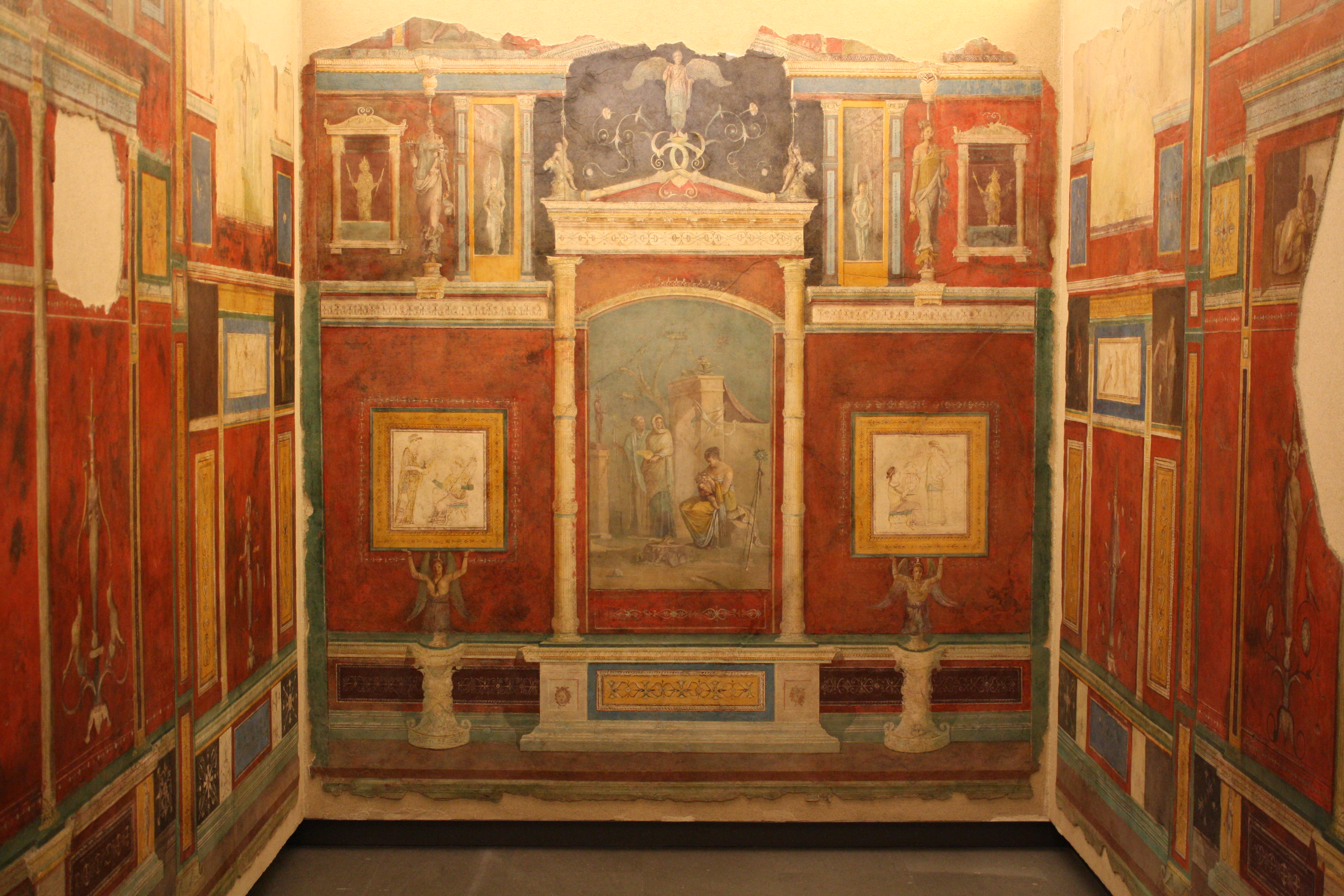 Roman frescoed room illustration ancient history for Ancient mural villa