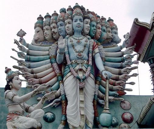 Krishna manifesting his full glory to Arjuna (Illustration