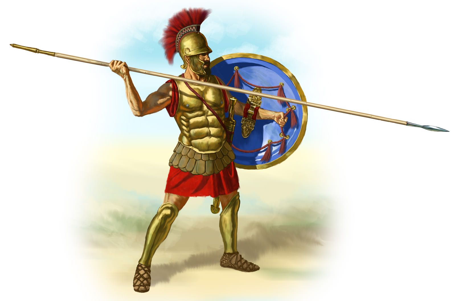 Modern illustration of a 4th century BCE Greek hoplite .