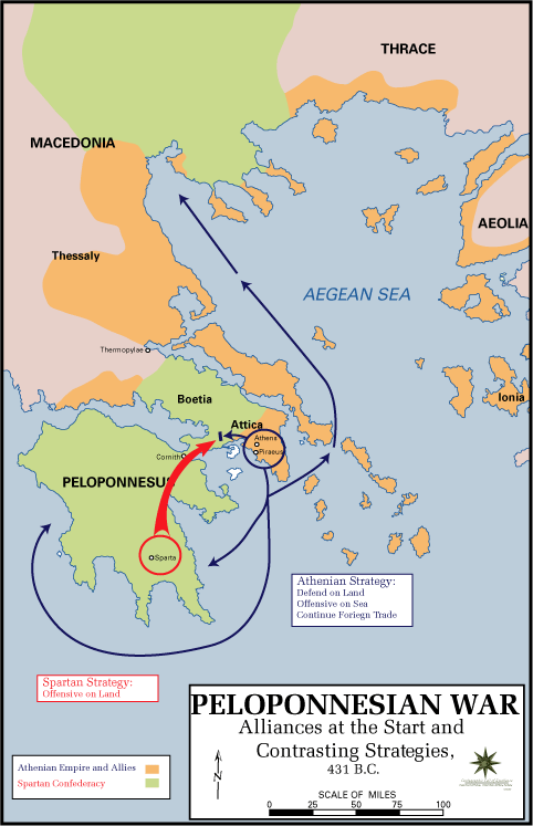 Map of the Peloponnesian War, Beginning (Illustration) - Ancient ...