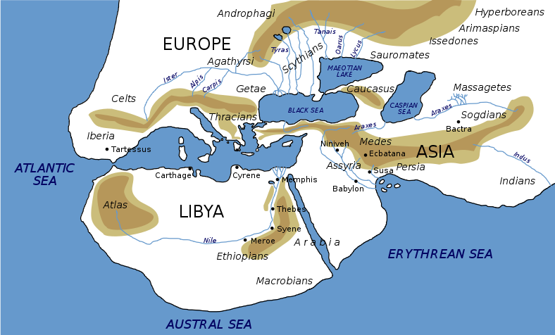 World map of herodotus illustration ancient history encyclopedia world map of herodotus gumiabroncs Gallery