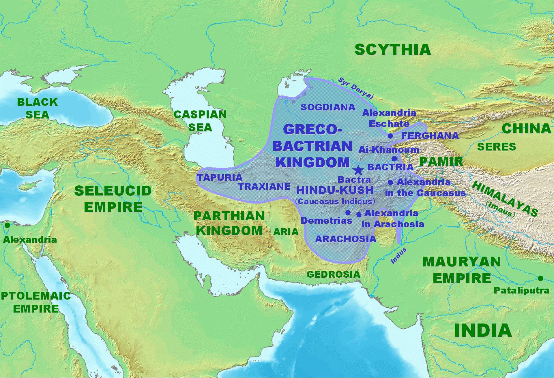 Map of the Greco-Bactrian Kingdom (Illustration) -- Ancient ...