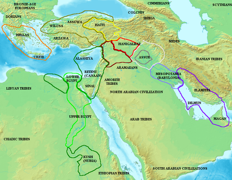 Map of the ancient Near East during the Amarna Period