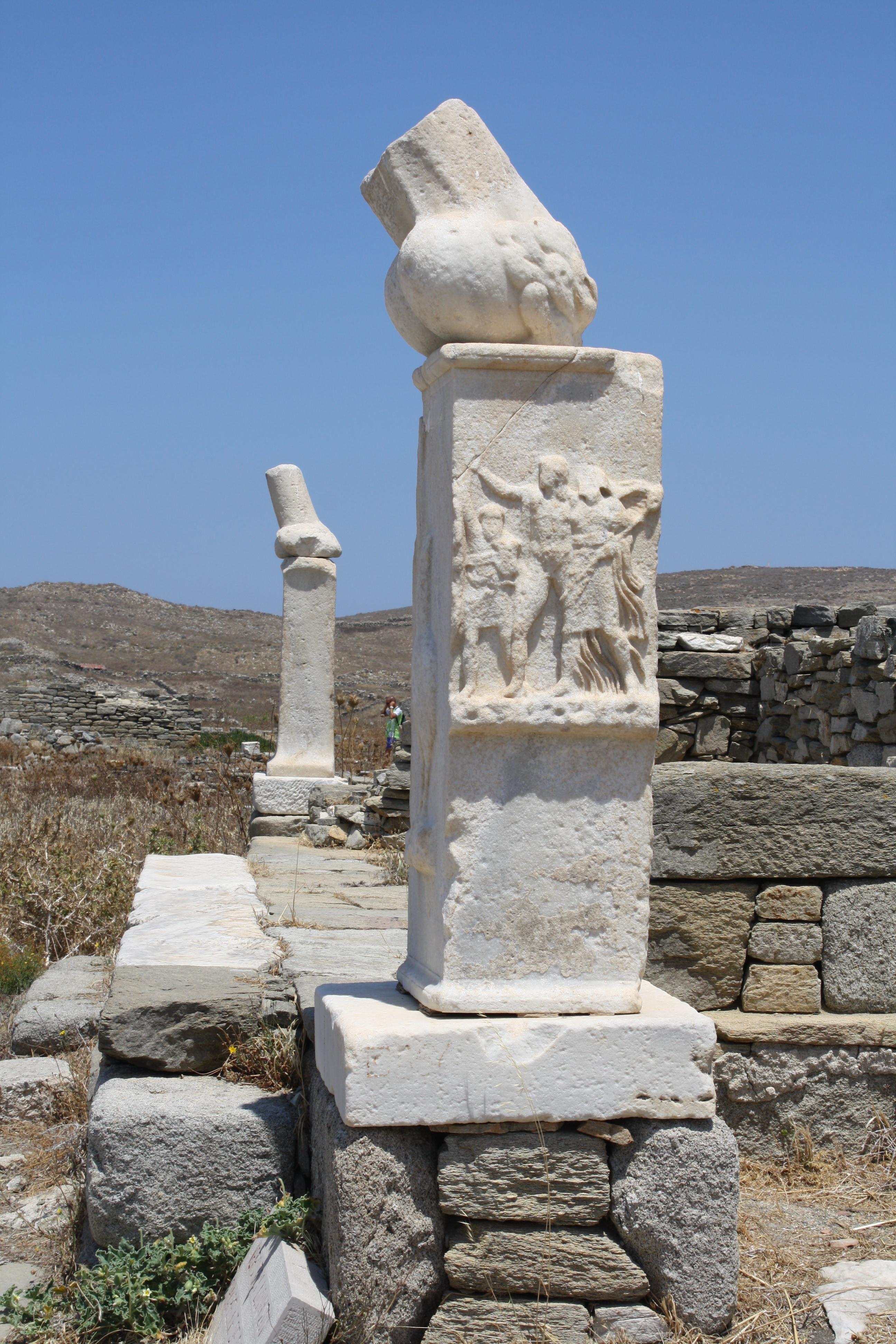 Column Phallus Delos Illustration Ancient History Encyclopedia