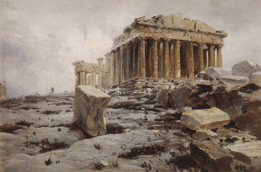 Parthenon, Painting by Polenov
