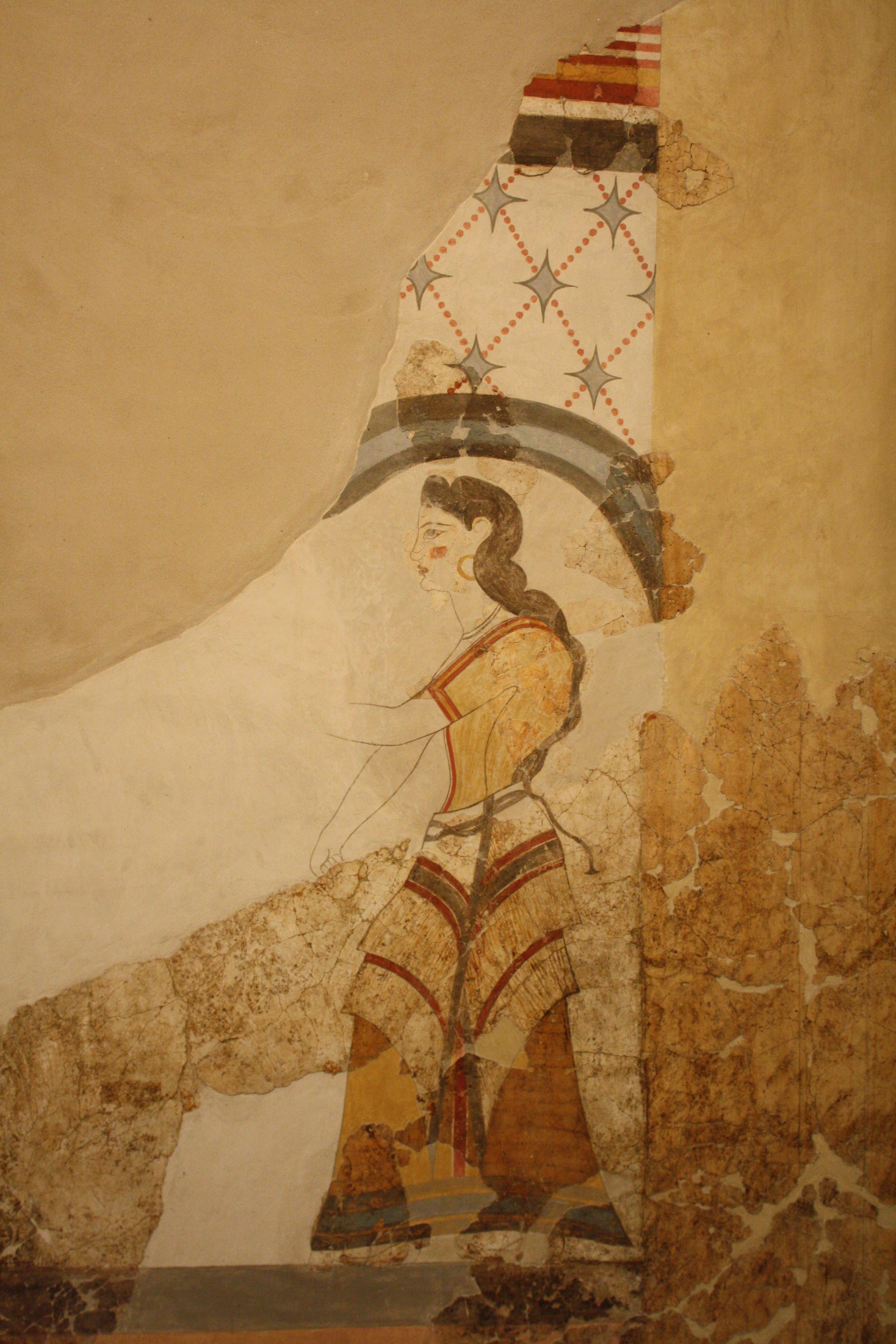 Minoan Lady, Fresco, Akrotiri