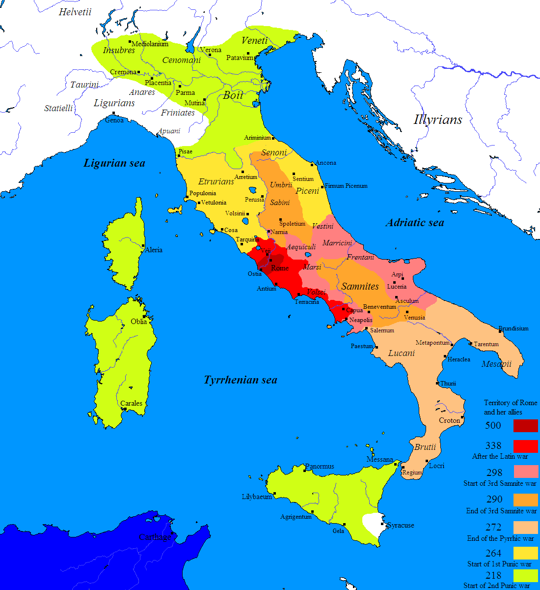 Map of the Roman Conquest of Italy (Illustration)   Ancient