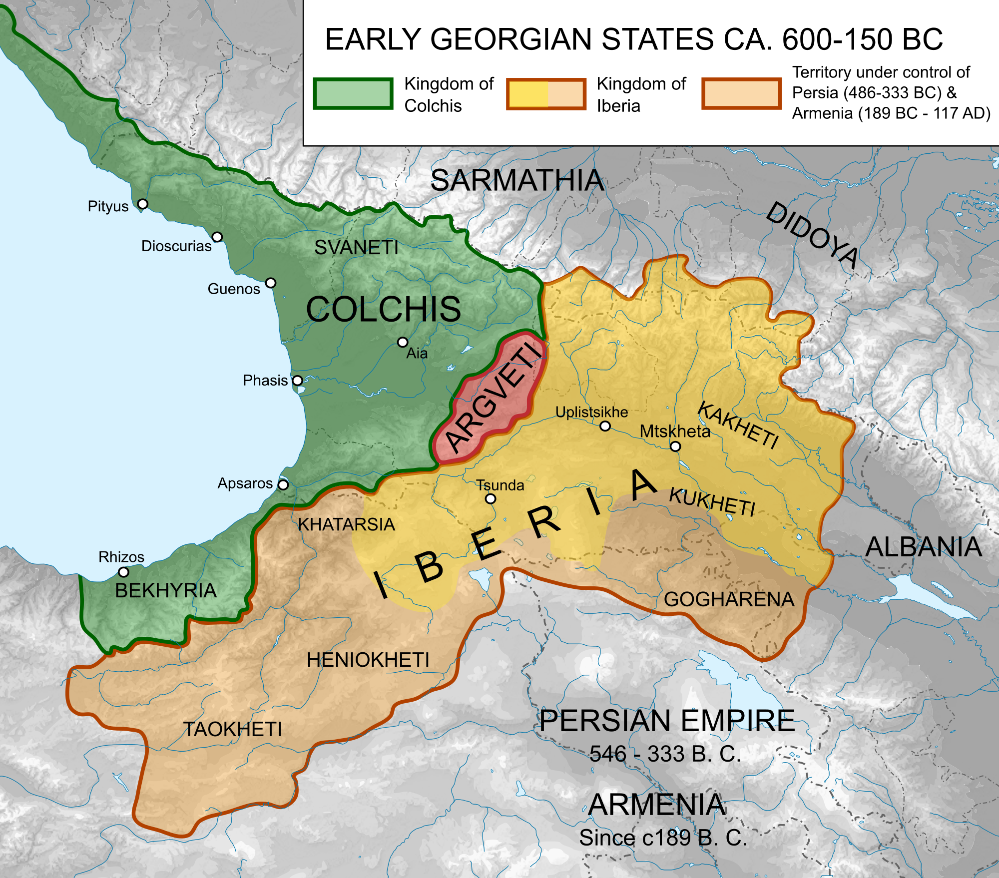 Map of ancient georgian states 600 150 bce illustration map of ancient georgian states gumiabroncs Choice Image