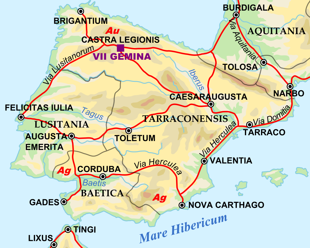 Map of the Iberian Penninsula in 125 AD (Illustration ...