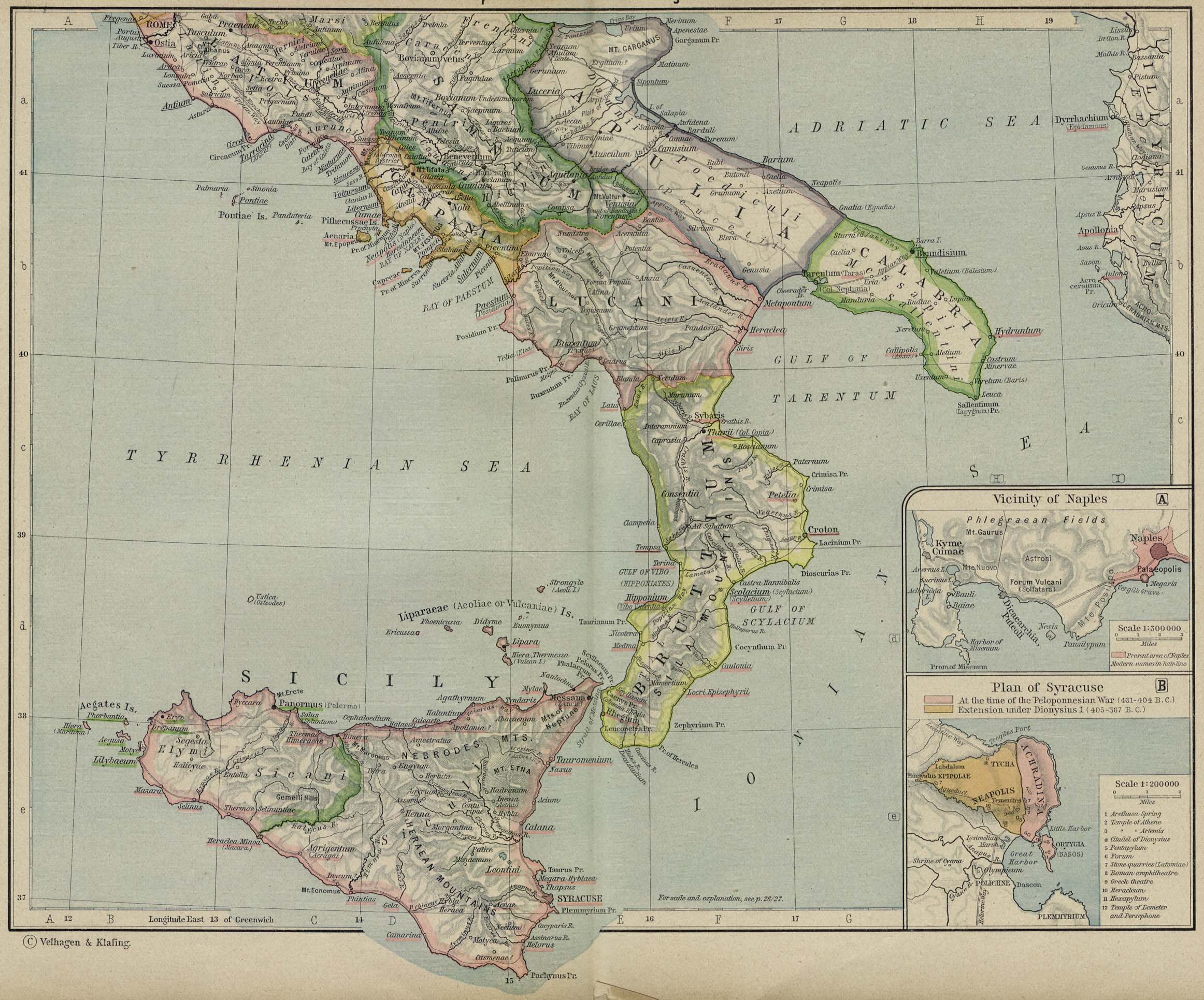 Map of Ancient Italy Southern Part Illustration Ancient History