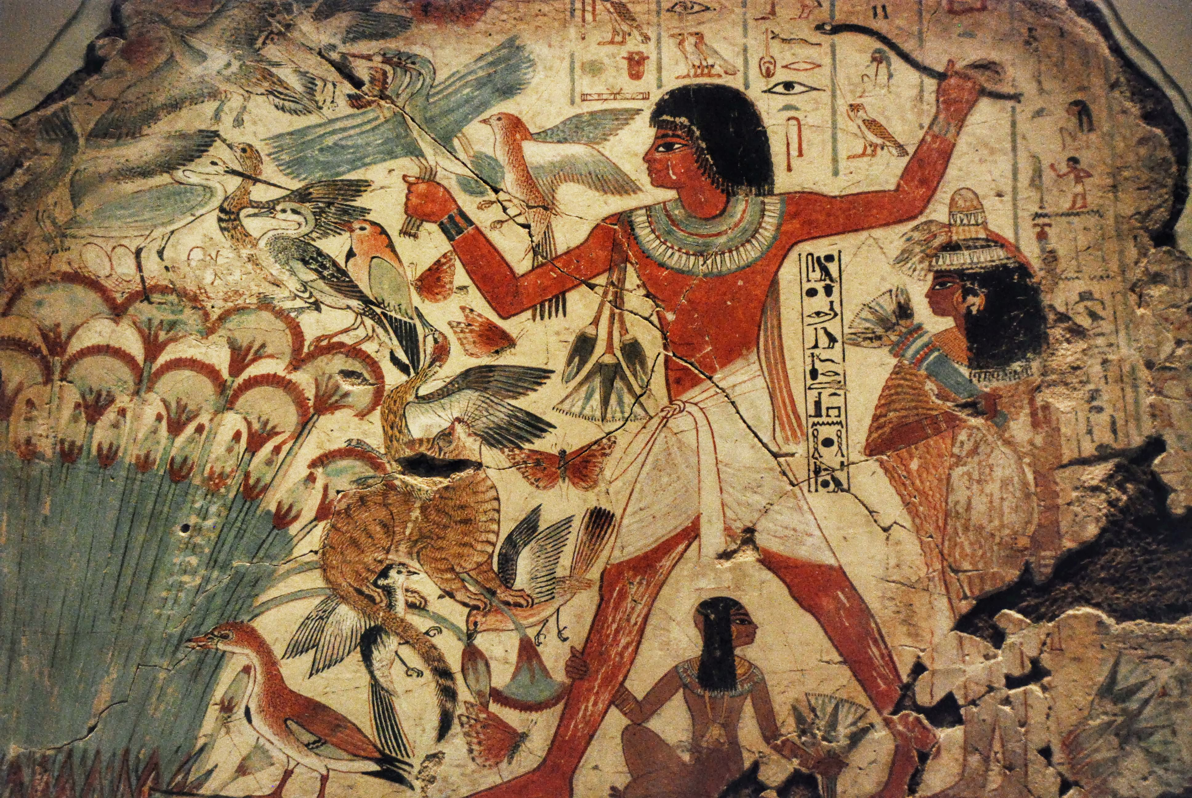Egyptian hunting in the marshes illustration ancient for Egyptian mural art