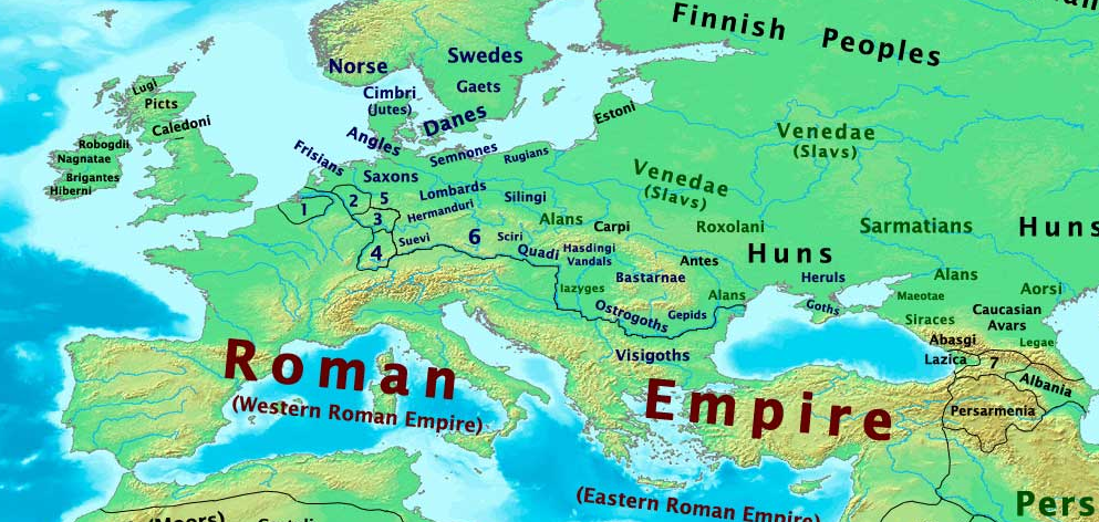 Map of Europe 400 CE Illustration Ancient History Encyclopedia