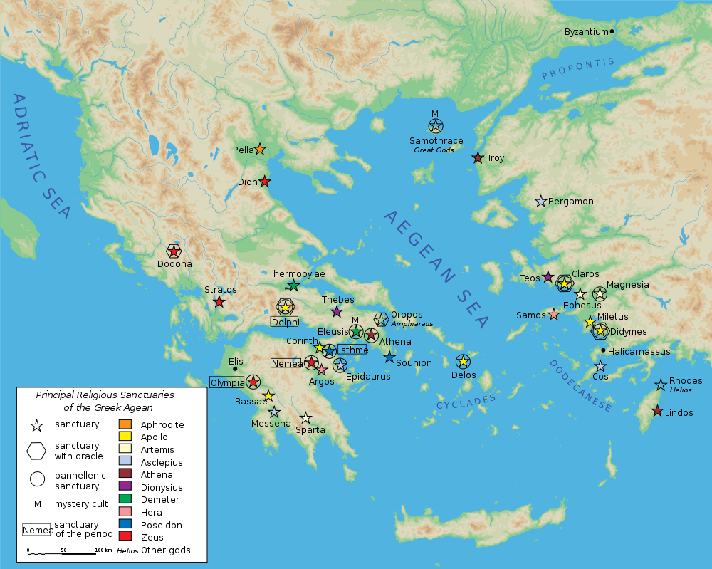 Map Of Classical Greek Sanctuaries Illustration Ancient History