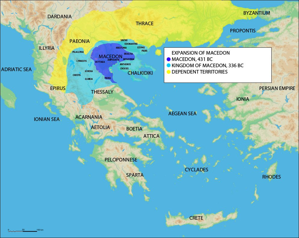 Ancient Greece Map Macedonia.Map Of The Expansion Of Macedon Illustration Ancient History