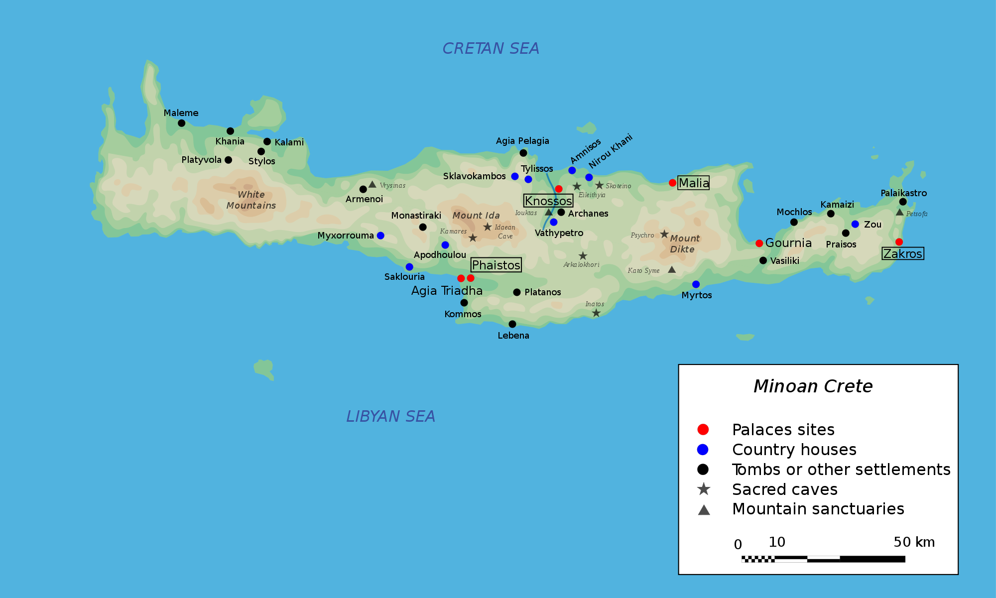 Map Of Crete Map of Minoan Crete (Illustration)   Ancient History Encyclopedia Map Of Crete