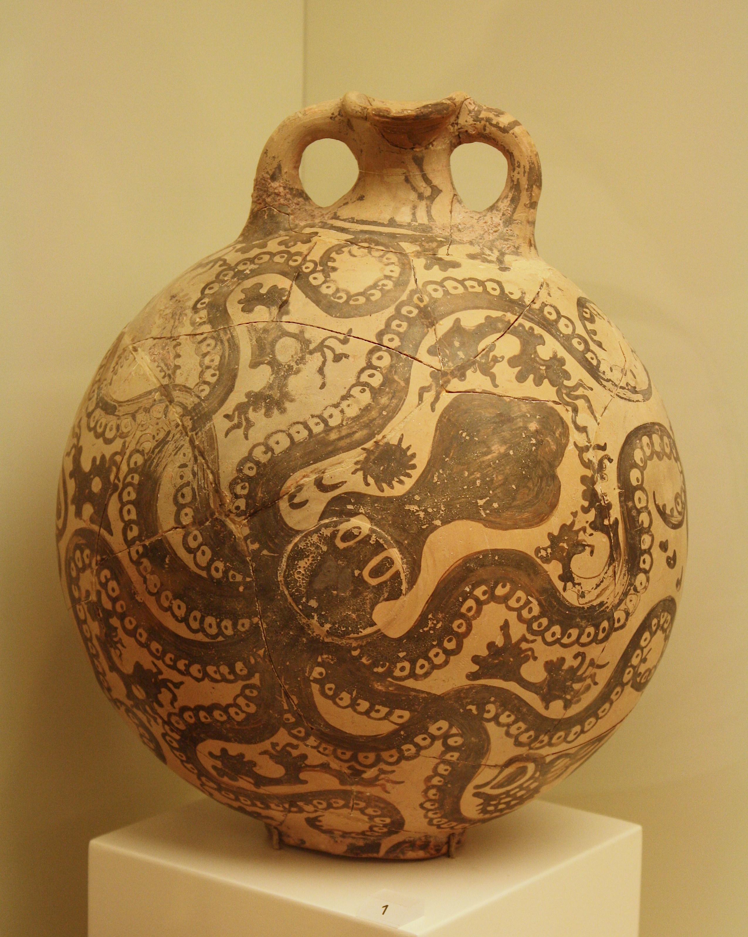 Minoan Vase In Marine Style Illustration Ancient