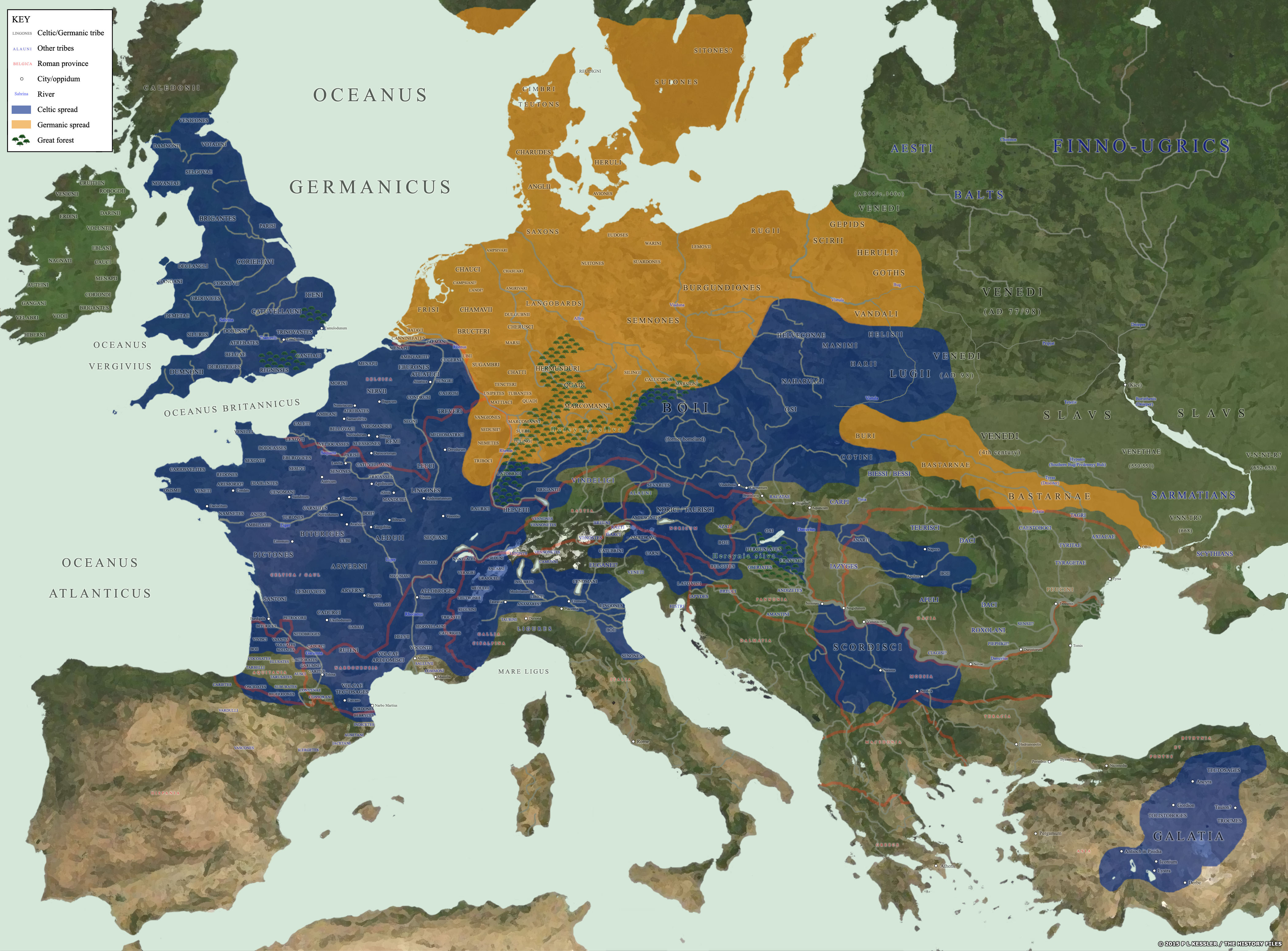 Map of Celtic and Germanic Tribes (Illustration) - Ancient History Celts Map on
