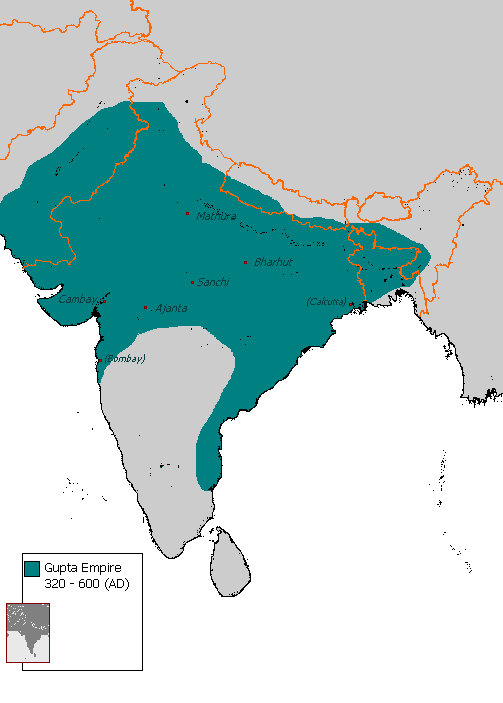 Gupta Empire Map Gupta Empire (Illustration)   Ancient History Encyclopedia Gupta Empire Map