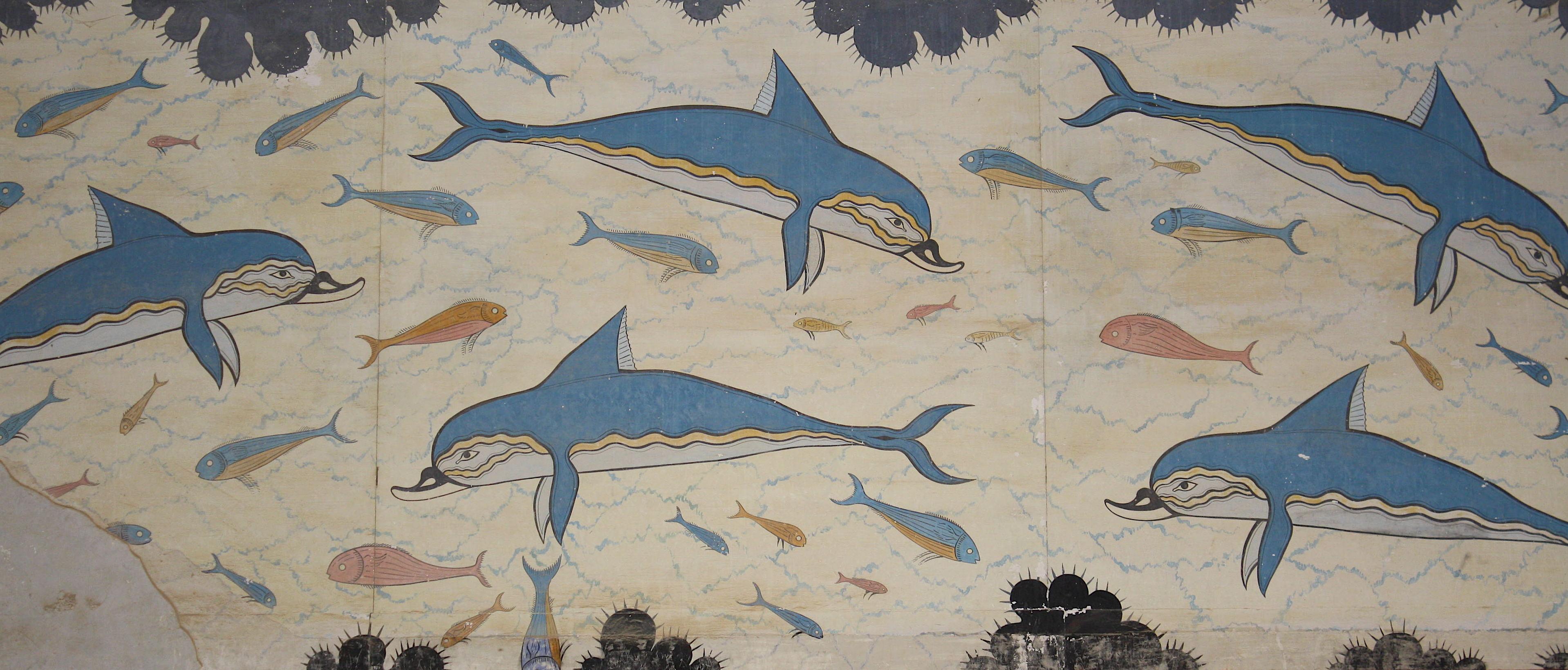 Dolphin fresco knossos crete illustration ancient for Dolphin mural knossos