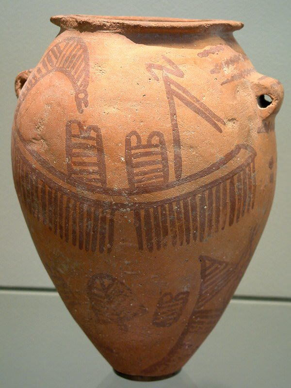 example of egyptian pottery of the naqada ii period c 3500 3200 bc some of the motifs depicted on naqada ii pottery are also found in rock images