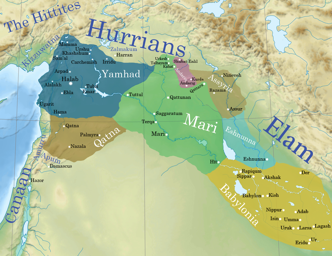 ancient syromesopotamia ca  bce (illustration)  ancient  - this map shows the political situation in syromesopotamia c  bceduring this time the amorite kings hammurabi of babylon and zimrilim ofmari were