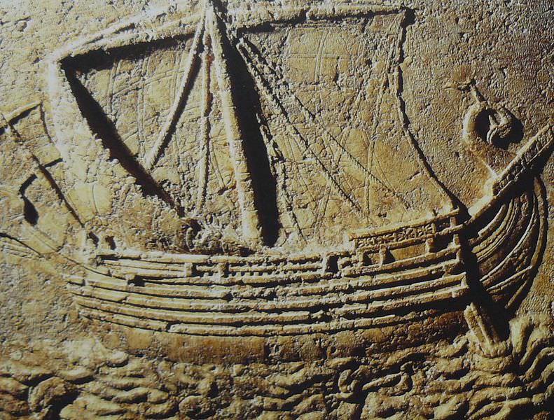 A Phoenician-Punic ship from a relief carving on a 2nd century CE sarcophagus