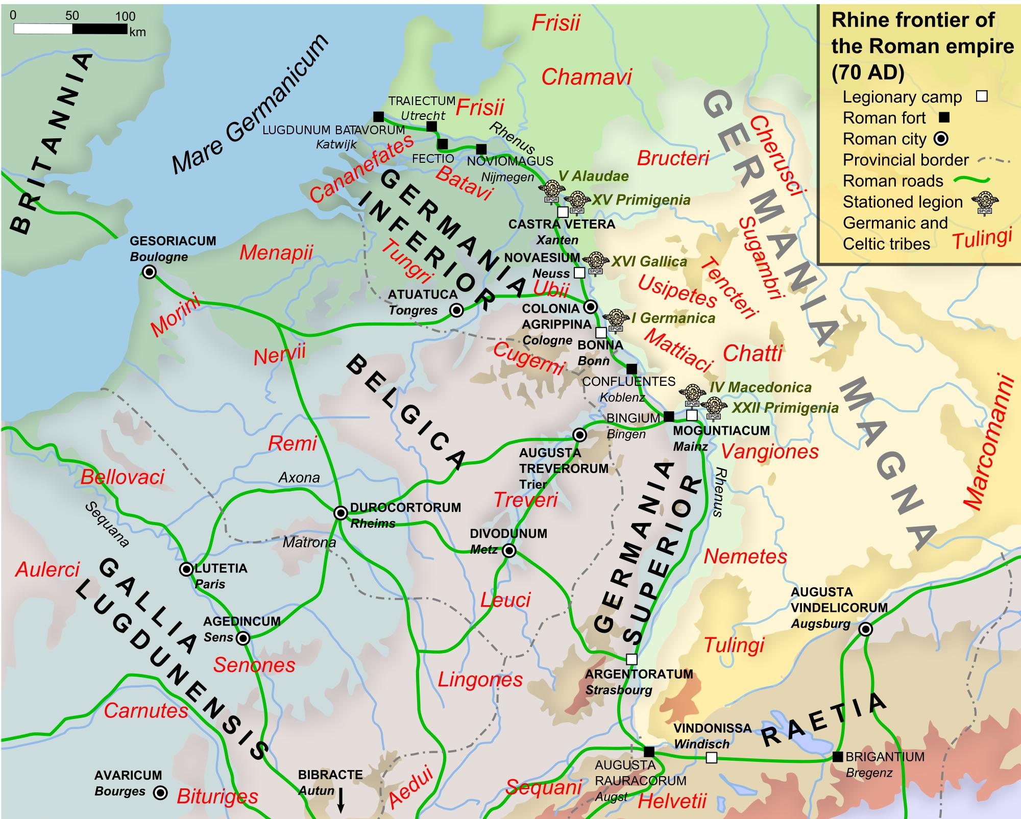 The Batavian Revolt Article Ancient History Encyclopedia - Ancient rome map po river