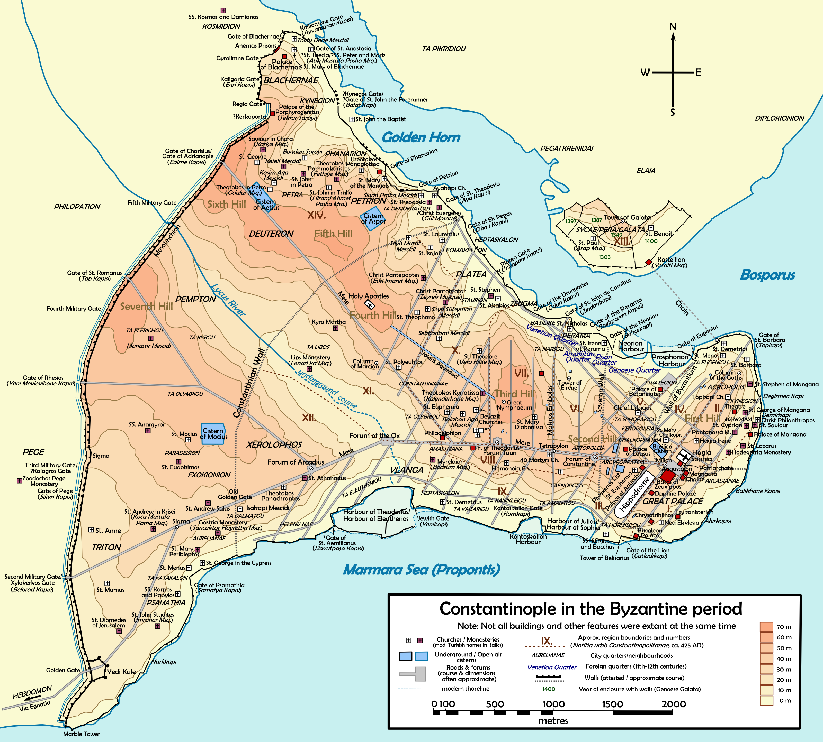 Map of Byzantine Constantinople Illustration Ancient History