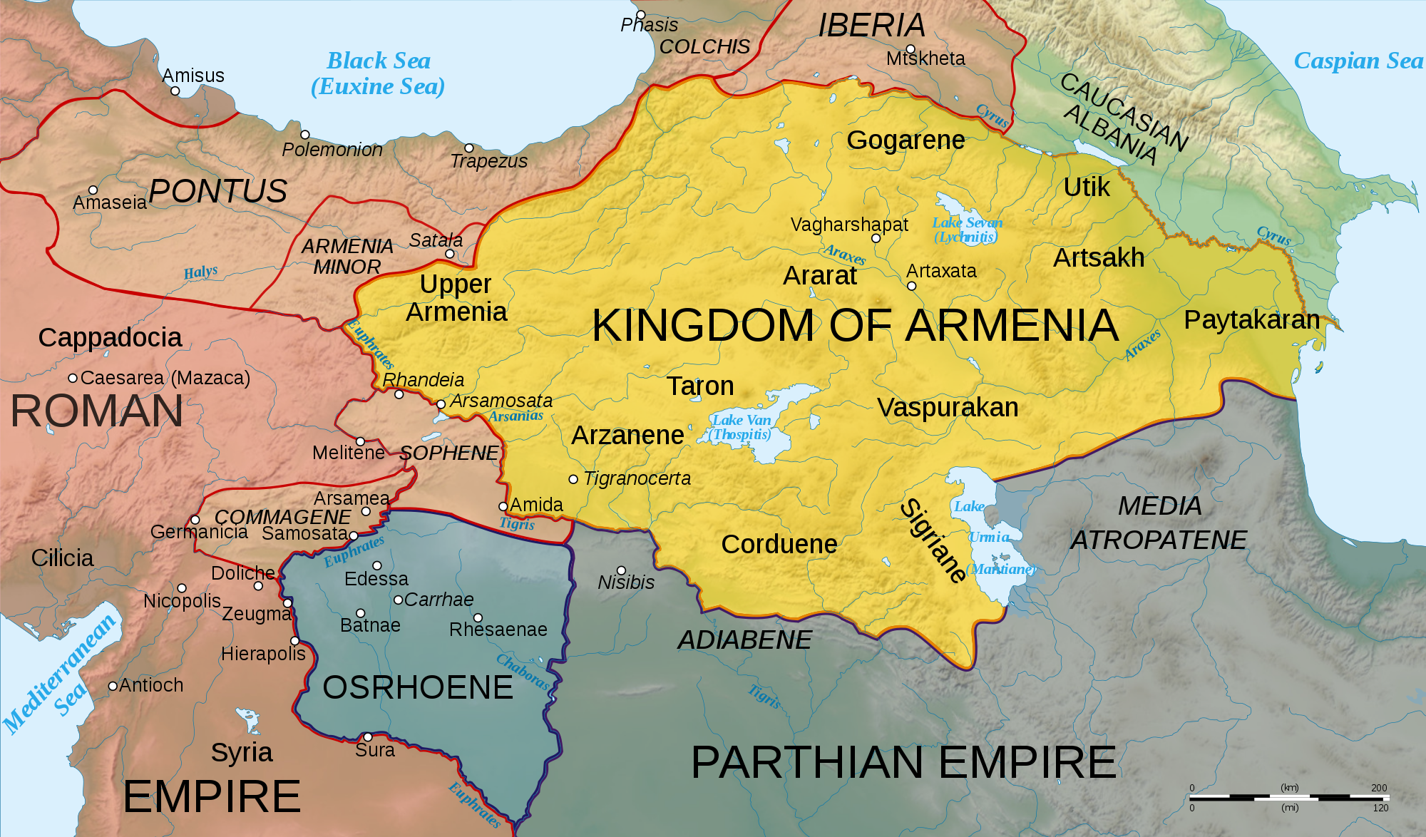 Map of Armenia 50 CE Illustration Ancient History Encyclopedia