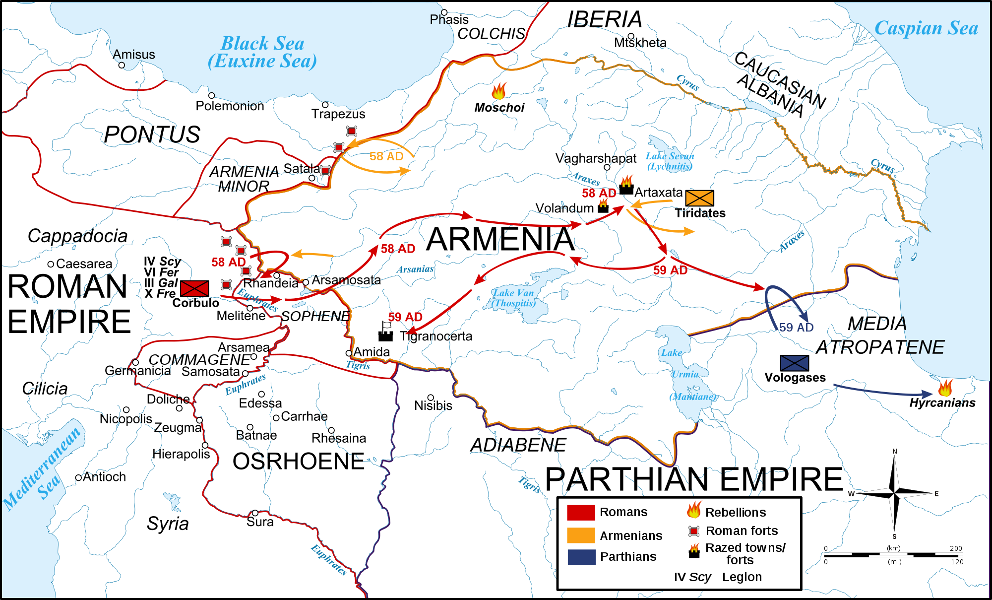 Map RomanParthian War 5860 CE Illustration Ancient History