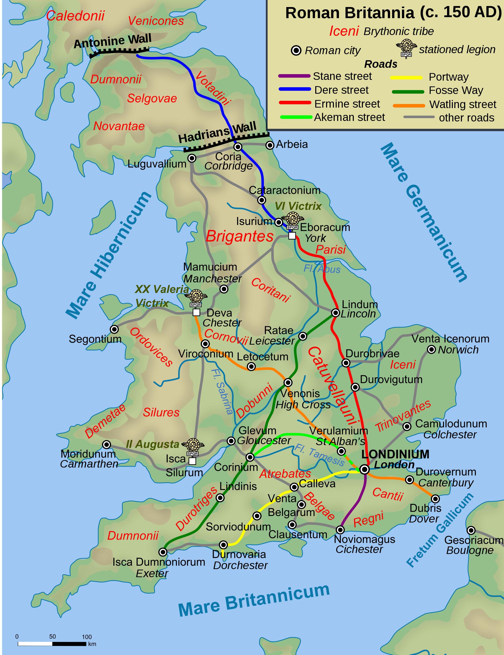Map of Roman Britain 150 AD Illustration Ancient History