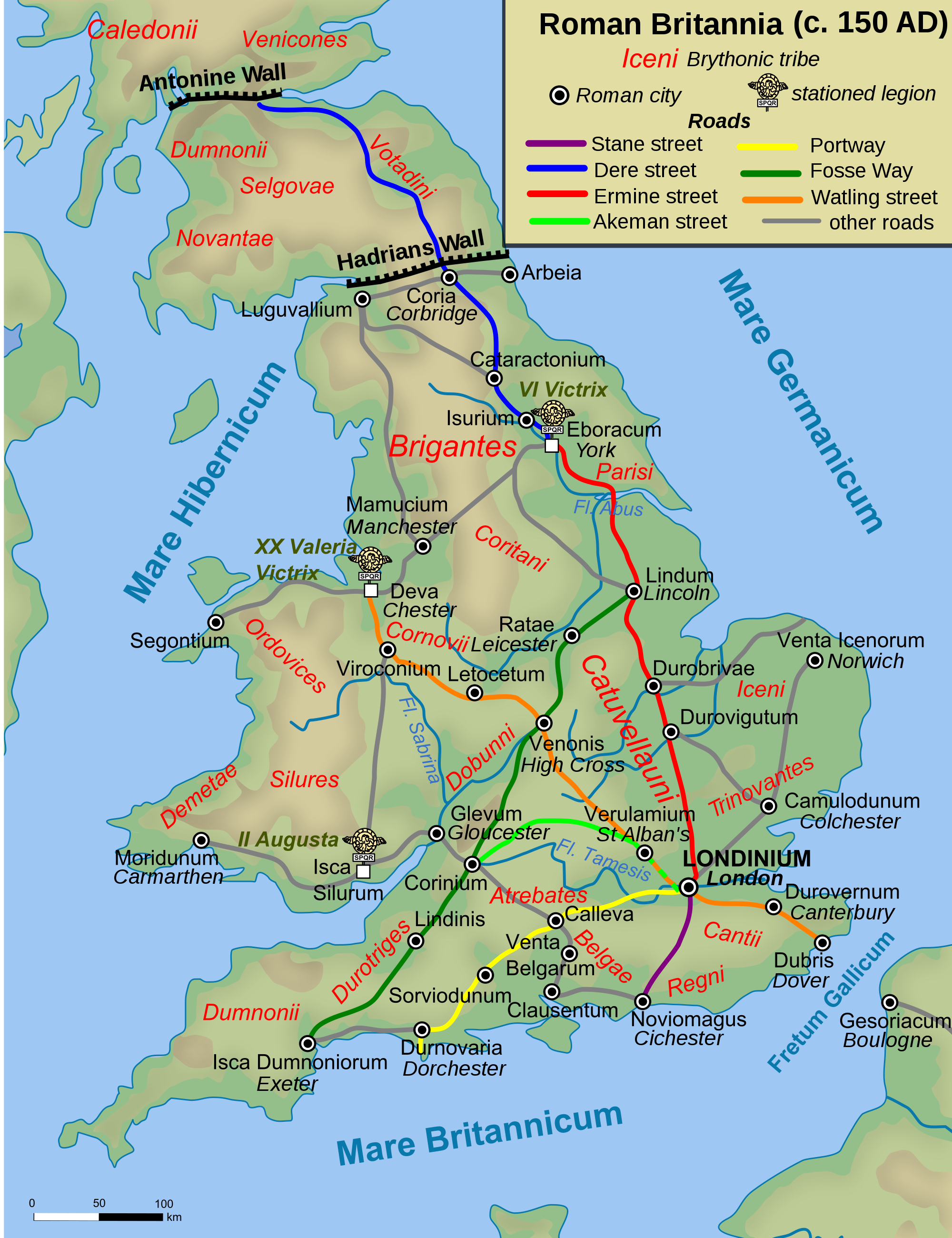 Map Of Roman Britain 150 Ad Illustration Ancient History