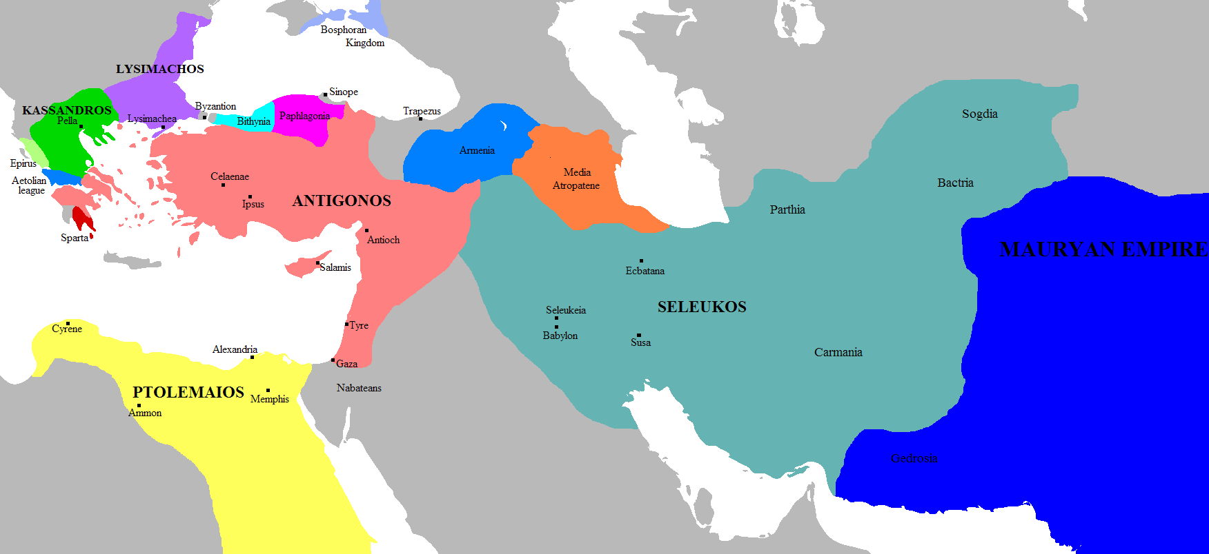 the hellenistic world the world of alexander the great article map of the successor kingdoms c 303 bce